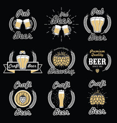 set vintage beer emblems logos badges vector image