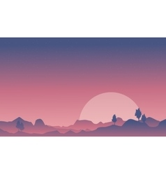 Silhouette of desert and mountain background vector