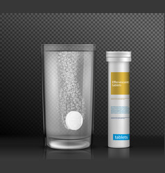 Soluble medicine pack realistic mock up vector