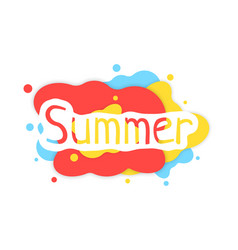 Summer colored abstract logo with shadow vector