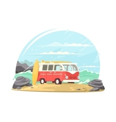 Surfing van with boards vector