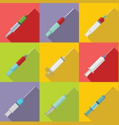 syringe needle injection icons set flat style vector image