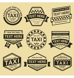Taxi labels set vintage style vector image