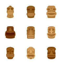 Tiki idol icon set flat style vector