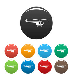 transport helicopter icons set color vector image