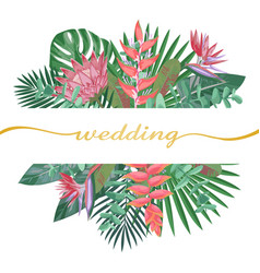 Tropical wedding invitation vector