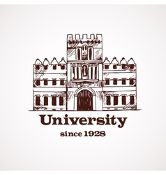 University sketch building vector