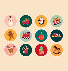 vintage christmas stickers vector image