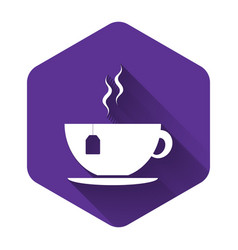 white cup with tea bag icon isolated with long vector image