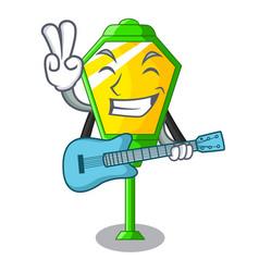 With guitar street lamp post in shape cartoon vector