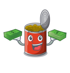 With money canned food on the table cartoon vector
