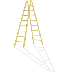 Wood step ladder vector
