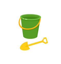 baby bucket sand shovel toy vector image