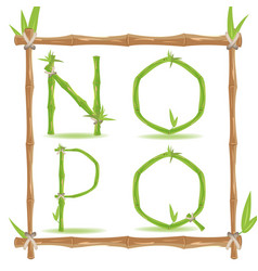 bamboo letter alphabet green set d vector image