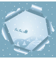 Christmas background through paper vector image vector image