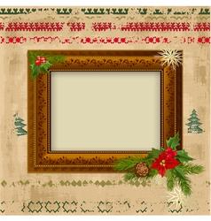decorative christmas frame design vector image vector image