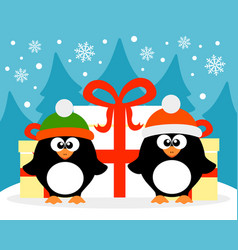 happy new year card with penguin santa claus and vector image