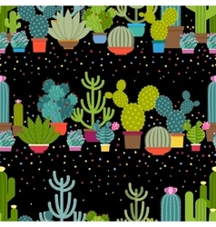 Horizontal patterns of cactus in flat style vector image vector image