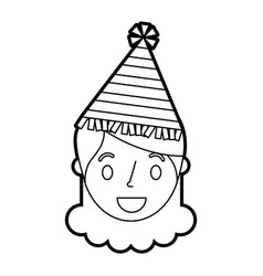 smiling little girl with party hat vector image