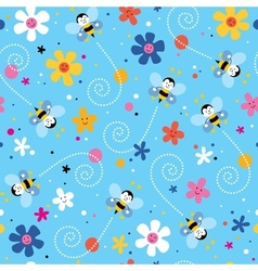 bees and flowers seamless pattern vector image