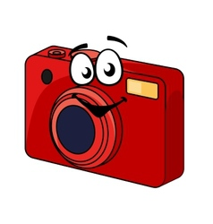 Colorful red point and shoot camera vector image vector image