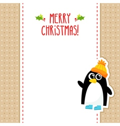 Funny penguin Christmas greeting card design vector image