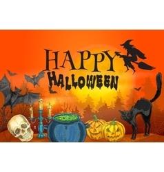 Happy Halloween witchcraft and horror scene vector image vector image