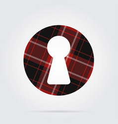 Red black tartan isolated icon - keyhole vector