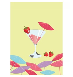 Strawberry cocktail Summer Sun Party vector image vector image