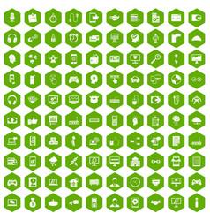100 programmer icons hexagon green vector image