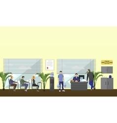 Call center interior banner customer vector