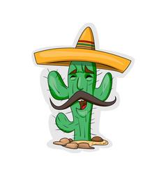 cartoon cactus character vector image
