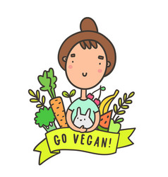 cute funny girl with rabbit go vegan vector image vector image