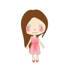 Cute Girl in Pink Dress vector image vector image