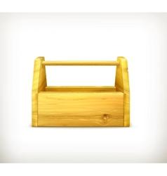Empty wooden toolbox vector image vector image