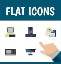 flat icon computer set of processor pc computer vector image