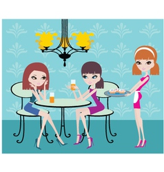friends in cafe vector image vector image