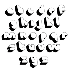 Futuristic black and white 3d font vector image