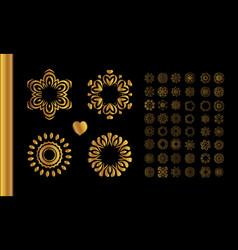 golden vintage round patterns on black vector image