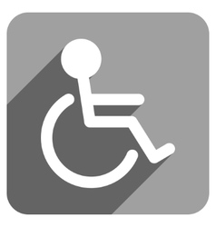 Handicapped Flat Square Icon with Long Shadow vector image vector image