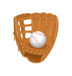 leather glove white leather ball in realistic vector image vector image