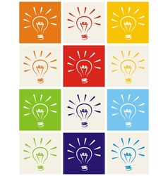 Light bulb hand drawn colorful icon set isolated vector image