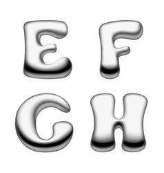 metal and liquid mercury alphabet capital letters vector image