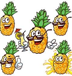 set cartoon character - Happy pineapple vector image vector image