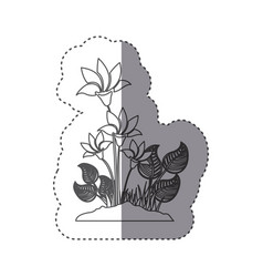 sticker silhouette flowers with leaves in ground vector image