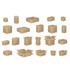 big set of isometric cardboard boxes isolated on vector image