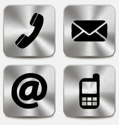 Contact us icons on metallic buttons vector image
