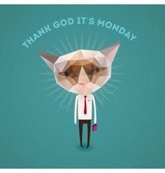 Funny sad cat - thank Got its monday vector image vector image
