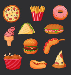 Greasy fast or junk food snack hot dog and fries vector