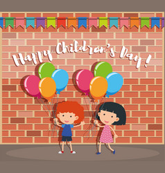 happy childrens day poster with boy and girl on vector image